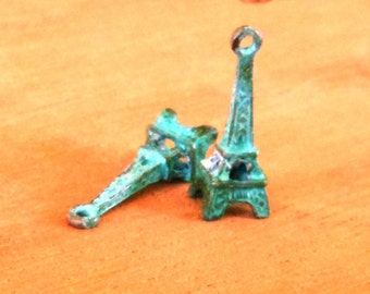 earring charm, EIFFEL TOWER,  verdigris patina  2 pcs
