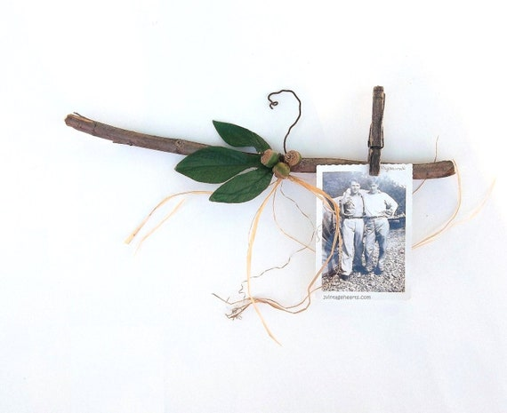 Woodland Rustic Twig Branch Hanger©. Autumn Leaf. Acorns. Rustic Shabby Decor. 3VintageHearts