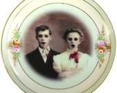 Zombie Love, Wedding Portrait - Altered Vintage Plate