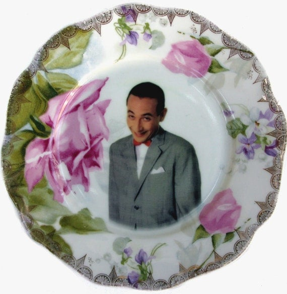 Pee-wee Herman Portrait - Altered Vintage Plate