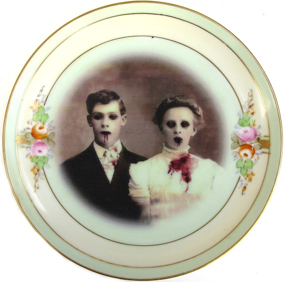 Zombie Love, Wedding Portrait - Altered Vintage Plate