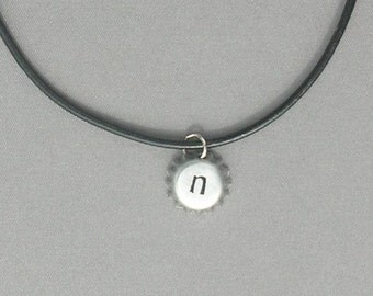 Mini Silver bottlecap Initial N, O, P Necklace