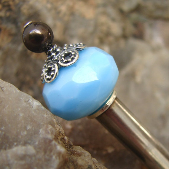 SALE Hair Stick Hairpin - Turquoise Blue Glass with a Deep Brown Swarovski Pearl - Kirsten