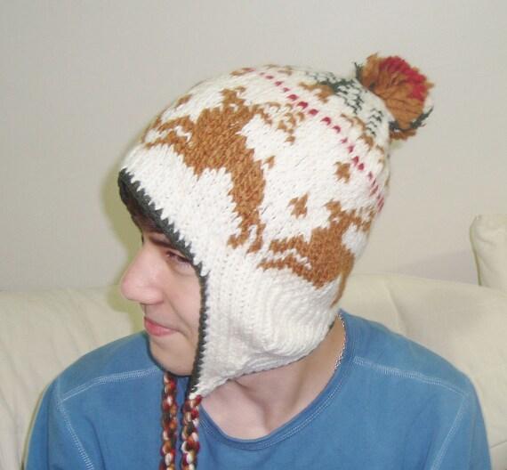 Hand Knit Winter Hat - Wool Hat - Mens or Womens Hat in Cream, Brown Deers Pattern
