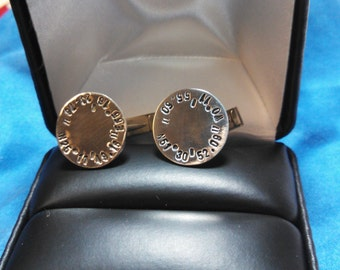 Cufflinks, Sterling Silver, Hand Stamped, GPS coordinates, Personalized