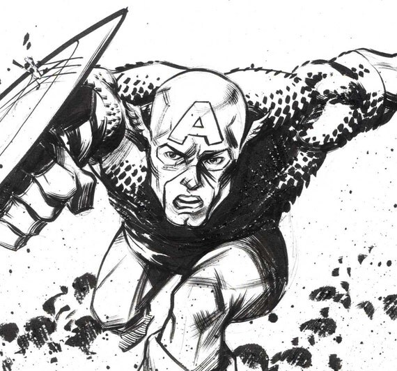 Captain America original ink drawing by Steve Lieber & Ron Chan