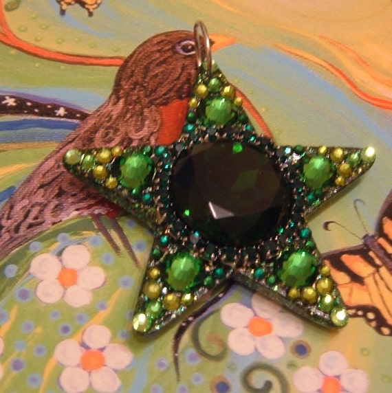 """Entwood Elf, 2 1/4"""" shining star, magical, faerie adornment, The Hobbit, Mirkwood, adventure, dragon, glittery green star, lucky charm"""