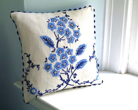 Vintage Blue Floral Embroidery Pillow- Linen - Shabby Chic Home Decor - Recycled Shirt Back- Includes Insert