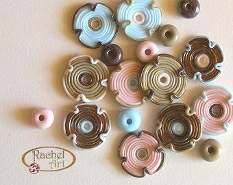 Multicolored Lampwork Flower Glass Beads, FREE SHIPPING, Set of Handmade Flowers and Donuts Beads - Rachelcartglass