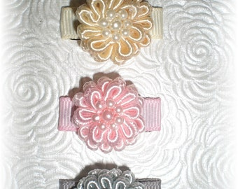 Cream, Pink and Gray/Silver Baby Hair Bows, Baby Snap Clips, Flower Baby Clips, Infant Hair Clip - Great Winter Colors for Baby