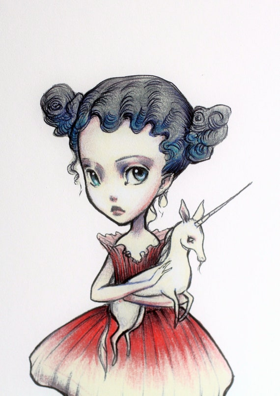 Reserved for Dominica - Genevieve Believes - Unicorn Love -  8x10 Limited Edition Signed Art Print - by Mab Graves-unframed
