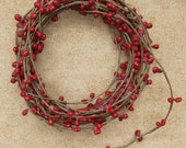 One 18' Cranberry Red Pip Berry Rope  Garland  Primitive Crafts Folkart Doll Making Wreaths Swags
