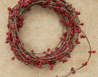One 18' Pip Berry Rope Garland Cranberry Red Primitive Crafts Folkart Doll Making Wreaths Swags