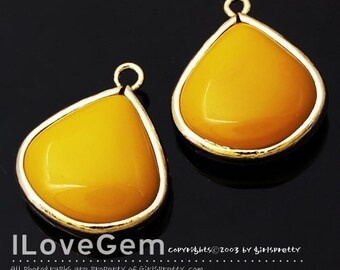 P2837 Gold plated, Mustard, Glass, Smooth Drop, 17mm, 2pcs