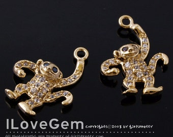 NP-1442 Gold plated, Monkey, Pendant, 1pc