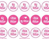 INSTANT DOWNLOAD - Big Sister Little Sister- Digital Bottle Cap Images