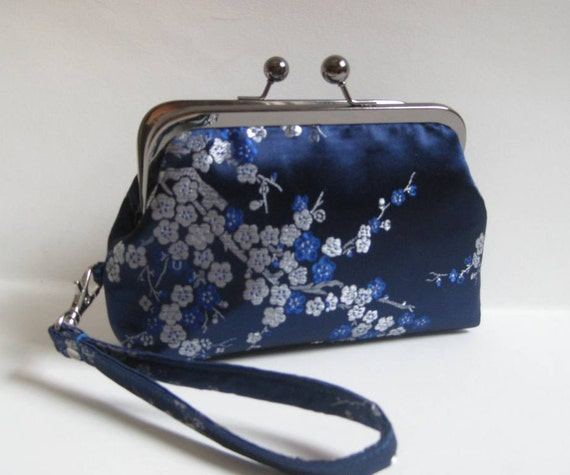 Small Clutch/Wristlet in Royal Blue Chinese Brocade