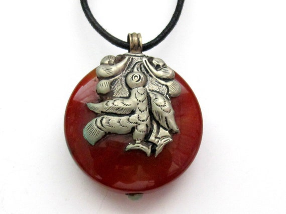 Tibetan Dragon sterling silver  Carnelian gemstone pendant - dual sided
