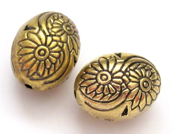 2 Beads-Large oval shape gold  tone metal beads -   BD186