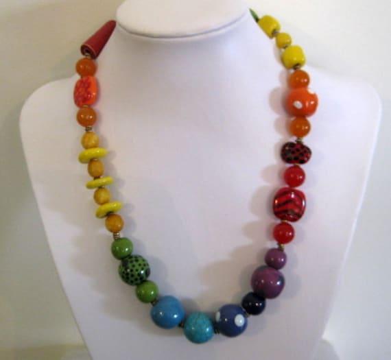 Kazuri Beaded Necklace, Rainbow Colors, Semi Precious Stones, Fair Trade