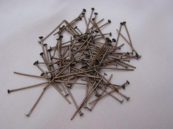 Destash beautiful antique bronze metal  head pins. Wholesale lot set of 100.