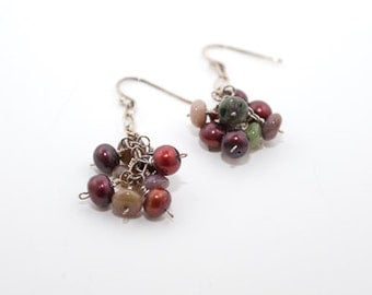 Red Freshwater Pearl and Agate Cluster Earrings