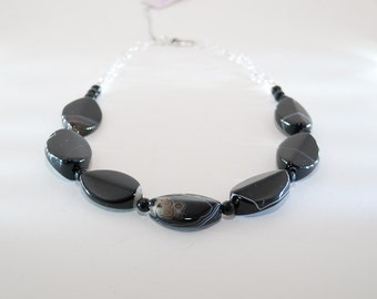 Black Banded Agate, Onyx, and Sterling Silver Necklace