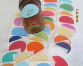 Embossed Canning Stickers-Rainbow Colors- Made By Stickers- Tiny Bird Embossed Canning Labels-Oval Stickers-Canning Jar Labels