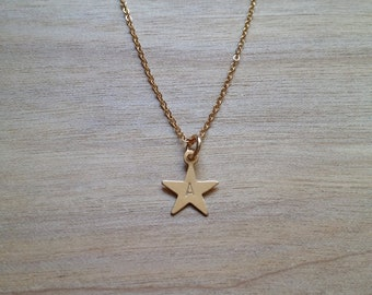 Hand Stamped Initial Star Necklace