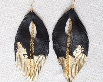Leather Feather Earrings. Black with Gold Gilded Tip Earrings. Gold Leafed Sparkling Bohemian.