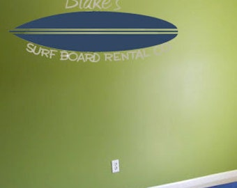 Surf Board Name Surfer Personalized Vinyl Wall Decal Decor Wall Lettering Words Quotes Decals Art Custom