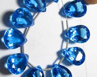 5 Matched Pairs - SKY BLUE QUARTZ - Super Sparkle Fine  Cut Pear Shapes Briolettes - 12x16 mm Size