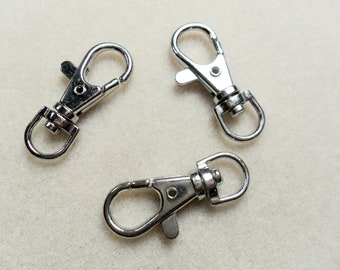 Silver Plated Findings,  Swivel Key Rings  38x17 mm      6pcs