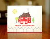 Home Sweet Home - Red House Housewarming Card on 100% Recycled Paper