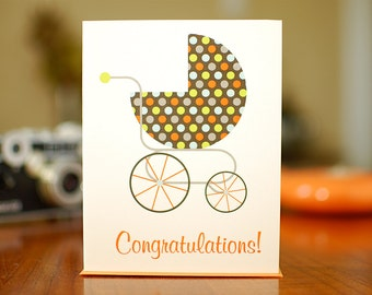 Retro Polka Dot Buggy - New Baby Congratulations Card in Brown, Blue & Orange (100% Recycled Paper)