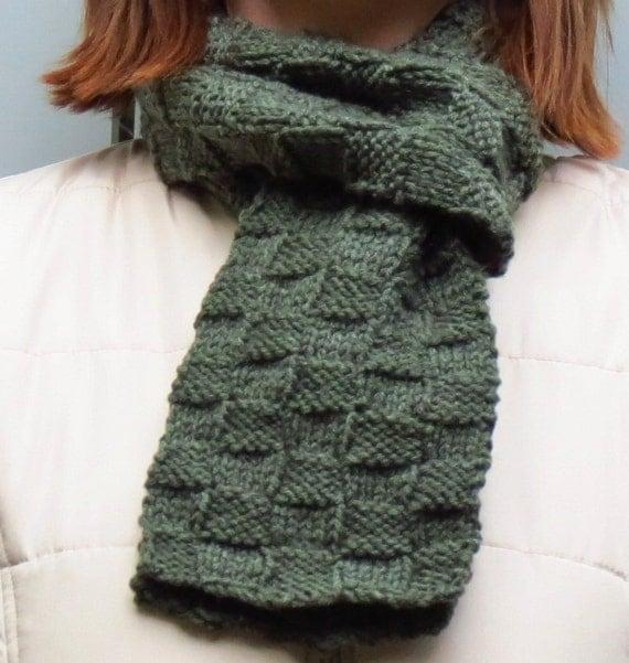 GREEN Knit Wool Blend Scarf - Green Basket Weave