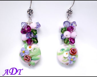 Posies...Springtime Garden Lampwork Earrings in Pink, Violet and Green