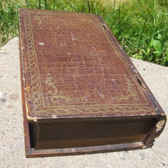 Vintage Wooden Book Safe