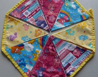 Reusable Fabric Bunting / Flags / Pennants for care bear fans pink yellow cute yellow binding