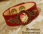 Red Rose Cameo Bracelet brass on handmade leather lolita steampunk goth