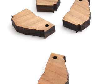 State of Georgia Mini Charms - Holes or No Holes - Black Cherry Wood Charms by Timber Green Woods -- USA!