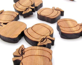 """Halloween Pumpkin Charms - 15 pack - 3/4"""" (.75"""") Size. Cherry Wood Charms . Timber Green Woods"""