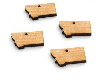 State of Montana Minis -  Black Cherry Wood Charms by Timber Green Woods