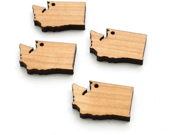 State of Washington Charms. With or Without Holes. Wood Charm by Timber Green Woods - Made in the U.S.A!