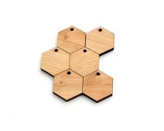 "Honeycomb Shape Wood Zipper Pulls - 1.25"" Pack of 10 Laser Cut Hexagons from Sustainable Harvest Cherry Wood - Timber Green Woods USA"