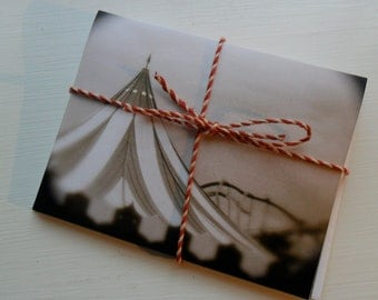 """Circus Tent Note Cards, Set of 3 Note Cards with Envelopes, 4"""" x 5 1/2"""", Great Idea to use as Invitations for a Circus Theme Party"""