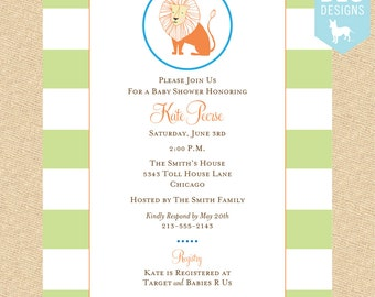 Little Lion Baby Shower Invitation - DIY digital file (PRINTABLE)
