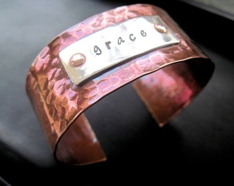 Copper and Sterling Silver Textured Cuff Bracelet