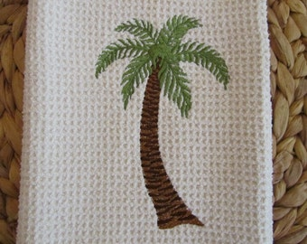 Palm Tree - MicroFiber Waffle Weave Kitchen Hand Towel
