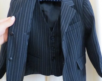 Vintage Two Piece Boys Formal Black Pinstripe Suit Jacket and Vest